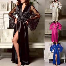Women Satin Long Nightdress Silk Lace Lingerie Nightgown Sleepwear Bath Robe