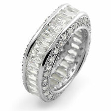 Cubic Zirconia Baguette Eternity Wedding Anniversary Band Ring 925 Silver Sz 7.5