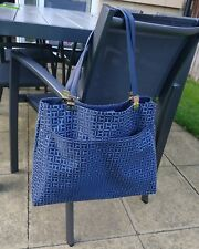 Authentic Tommy Hilfiger Jacquard hinge tote navy/white
