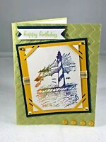 StampinUp Lighthouse Happy Birthday New Sayings Handmade Card Kit 4 $ Reduced