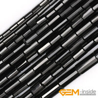 Natural AA Grade Black Agate Onyx Gemstone Faceted Tube Beads For Jewelry Making