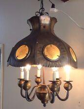 Large VTG HALCOLITE Gothic Spanish Revival Hanging Lamp Chandelier Light Fixture