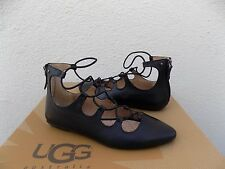 UGG LORIANNA BLACK LEATHER PARISIAN ELASTIC WRAP FLATS SHOES, US 6.5 / EUR 37.5