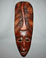 "Vintage Hand Carved Wooden HAITIAN Tribal MASK African Influence 20"" x 7"""