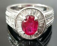 3.25TCW Top Pink Red Rubelite Tourmaline Diamond Halo 14k white gold ring