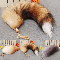 Fashion Bag Tag Accessory Big  Fox Tail Fur Tassel Keychain Ring Real Fox F I8L8