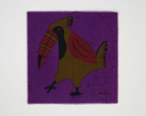 Vintage 1960s Purple, Brown & Red Tropical Toucan / Bird Fabric Wall Hanging