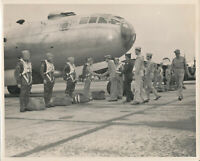 WWII 1940's USAAF Bomber crew inspection &  airplane 8x10 Official Photo #1