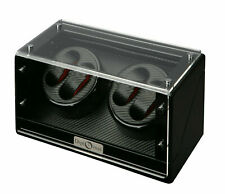 Finish w/ Carbon Fiber Interior 31-476 Diplomat Quad 4 Watch Winder Black