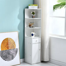 Corner Storage Rack Shelf Bookshelf w/ Drawer Home Decor Freestanding White New