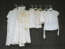 Vintage Baby Girl Clothes Dresses Skirt Tops White Cotton Heirloom Lot of 8
