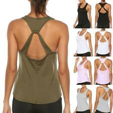 Womens Sexy Backless Yoga Top Vest Gym Workout Tank Top Sports T Shirt Fitness O
