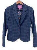 The Savile Row Co London Medium Jacket Blazer Blue Plaid Patterned