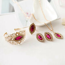 Women Jewelry Set Bridal Crystal Necklace Earrings Bracelet Rings Bridal Complet