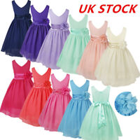 UK Kids Wedding Bridesmaid Flower Girl Dress Pageant Party Chiffon Formal Dress