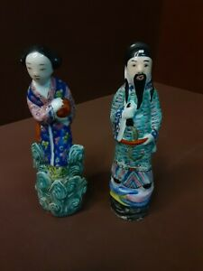 Vintage Antique CHINESE FAMILLE ROSE PORCELAIN WOMAN & MAN STATUE FIGURINE
