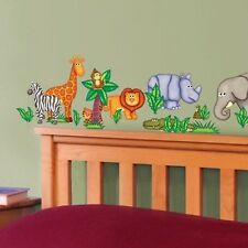 JUNGLE ANIMALS wall stickers 19 decals Giraffe Zebra Lion Hippo scrapbook decor