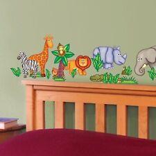 JUNGLE ANIMALS wall stickers 19 decals Giraffe Zebra Lion Hippo scrapbook decor