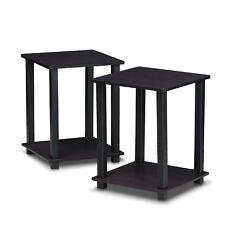 Furinno 12127DWN Simplistic End Table Set of Two Dark Walnut