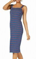 Ultra Flirt Dress Blue Size Medium M Junior Striped Textured Sheath $29 #221