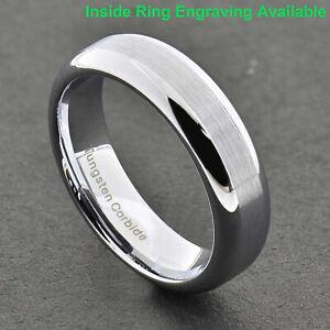 6mm Tungsten Carbide Ring Brushed Top Mirror Polish Edge Wedding Band