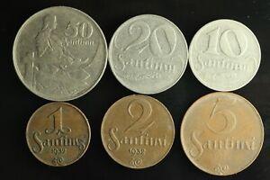 LATVIA Lettland Lettonia FULL SET 1922 -1939 coins 1,2,5,10,20,50 Santimi M905