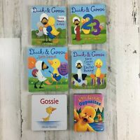 Lot of 6 Board Books Kids Baby Duck & Goose Gossie Little Quack Easter Dance Hug