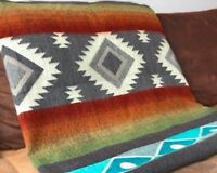 "EXTRA LARGE SOFT & WARM ALPACA WOOL BLANKET PLAID 75""x90"" ANDEAN DESIGN OTAVALO"