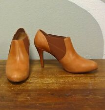 J CREW Honey Brown Leather Booker Booties Ankle Boots - 10