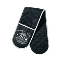 Vintage Home Double Oven Glove, Black Edition, Outer: 100% Cotton Filling