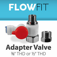 Water Feed Adapter Valve Reverse Osmosis RO 3/8 & 1/2 Inch Connection LEAD FREE