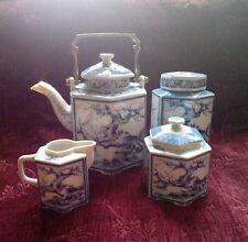 Dolphin China BLUE DYNASTY 7 Piece Tea Set Teapot, Canister, Creamer & Sugar