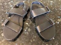 New Womens TEVA Avalina Sandal Leather US 7 UK 5 EU 38 JAPAN 24 Black Flat