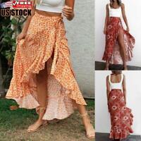 Women's High Waist Midi Skirt Ladies Beach Party Holiday Ruffle Swing Wrap Dress
