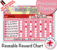 Easy to Use & Re-Use Princess Childs Girls Reward Chart - Dry Wipe & Magnetic