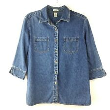Cherokee Women's Denim 3/4 Sleeve Button Down Shirt Blue Size Large