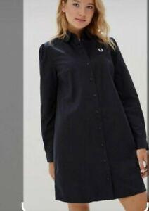 FRED PERRY UK 8 Button Down Shirt Dress navy long sleeve Cotton Shift Dress