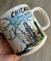 Vintage Chicago Windy City Ceramic Graphic Coffee Mug Whimsical Art