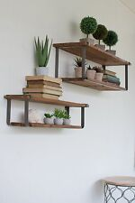 Set Of 2 Recycled Wood And Metal Shelves,30''-36''Long.