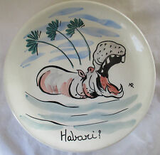 TASCA ITALY HAND PAINTED AFRICAN WILDLIFE POTTERY PLATE - HIPPO