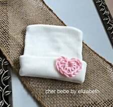 Pink crocheted heart Hospital Newborn Beanie, Newborn, White heart hat,