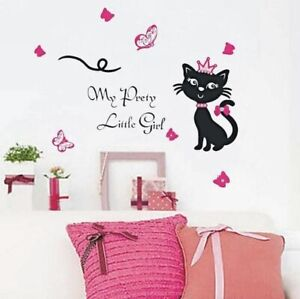 Black Cat Pretty Girl Wall Stickers, Peel & Stick, Removable, High Quality PVC