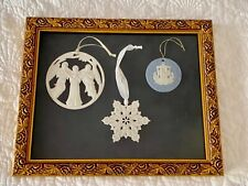 Wedgwood Jasperware Christmas Ornaments Angels Snowflake Candle Framed Picture