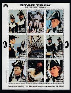 GUYANA Star Trek Generations on Pirate Ship MNH sheetlet