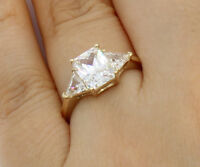 2.0 Ct 14K Real Yellow Gold Emerald Cut Trillion Engagement Wedding Promise Ring