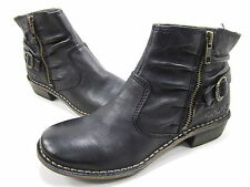 KICKERS, GROOVE BOOT, WOMENS, BLACK LEATHER, US 5.5M, EURO 36, PRE-OWNED W/O BOX