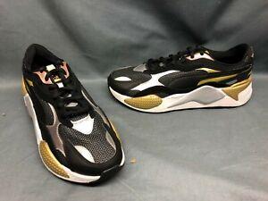 Puma Women's RS-X3 Metallic Running Sneakers Mesh Black Silver Rose Size 9 NEW!