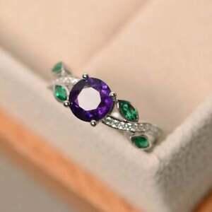 2 CT Round Amethyst,Emerald & Diamond Ring 14k White Gold Over