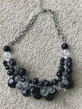 Silver, Clear & Black Bead and Chain Statement Necklace