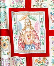 Stunning 1930s Embroidered Sacred Heart Calendar Quilt Top Gorgeous Handmade